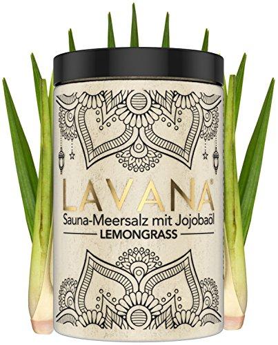 LAVANA Saunasalz 400g Lemongrass Peeling mit Jojobaöl Peelingsalz für die Sauna mit Vitamin E Körperpeeling mit Meersalz und Duft Aufguss Duschen