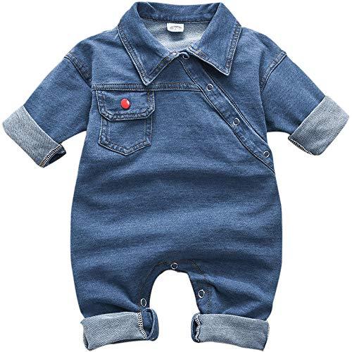 HINTINA Neugeborenes Baby Unisex Cowboy Kleidung, Kleinkind Jungen Mädchen Denim Strampler Overall (Aufgesetzte Tasche,Farbe Royal Blue)