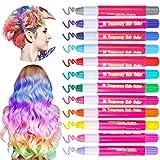12 Farben Temporäre Haarkreide für Kinder Mädchen Metallische Glitzer Kreide Stifte für Haarentfärben Perfektes Geschenk für Party Weihnachten Geburtstag Cosplay DIY