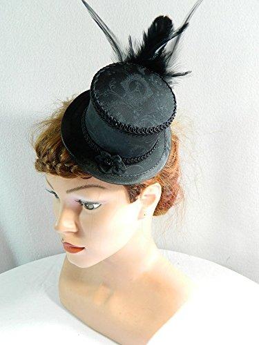 Mini Zylinder schwarz Damenhut Hut Fascinator Huetchen Gothic Steampunk - Steampunk Burlesque Kostüm