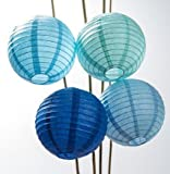 UMISSDECOR Paper Lanterns (8-Inch, Multicolor Blues, Set of 12) - Rice Paper Chinese Hanging Decorations - For Home Decor, Parties, and Weddings