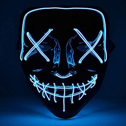 Halloween Maske LED, LED Maske Purge EL Wire mit 3 Blitzmodi für Party Halloween Kostüm, Weihnachten, Grimace Cosplay Festival Party Show (Stil 1)