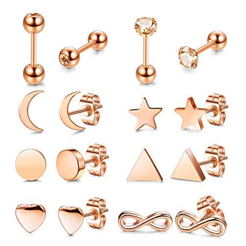 Yadoca 8 Paar Edelstahl Ohrstecker Set für Frauen Mädchen Herz Mond Star Unendlichkeit Runde Kugel CZ Knorpel Wendel Ohrlochpiercing Ohrring