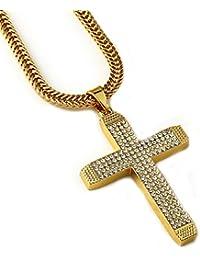 """Gudeke 18k oro verdadero plateado colgante cruz collar de diamantes densos de los hombres con la cadena cubana 29.5 """""""