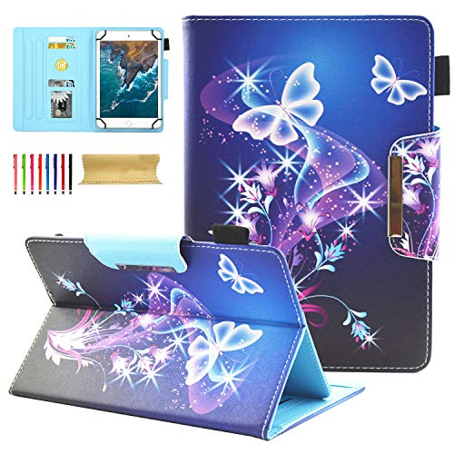 Housse universelle de tablette 6-7'', support pour Amazon, Samsung, GoTab, RCA For 9-10 inch tablet 01 Sparkle Butterfly
