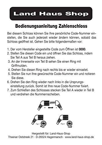 Land-Haus-Shop® Fahrradzahlenschloss 65 cm, Stahlseil ummantelt, Fahrrad Zahlen Schloss (Pink) - 5