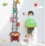 L-Peach 90*180cm Camion dei Pompieri Maiale Misurazione dell'altezza Casa Sticker Adesivi Murali Rimovibile Fai da te Ragazzi Bambini Nursery Baby Playroom Decorazione Salotto Sala da Pranzo