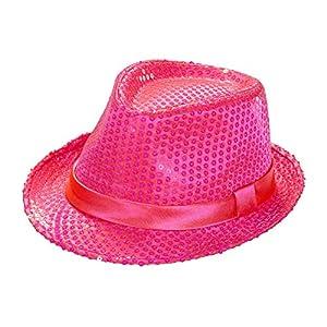 WIDMANN 0078r?leuchtstofffedora Sombrero con Lentejuelas, One Size