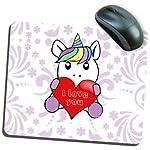 """My Custom Style Tappetino mouse rettangolare modello """"San Valentino - Unicorno I love You"""", in neoprene da cm 19x23, spessore da 5mm. Il Mouse pad è stampato con tecnica sublimatica ad alta risoluzione attraverso macchine al top di gamma, per un risu..."""