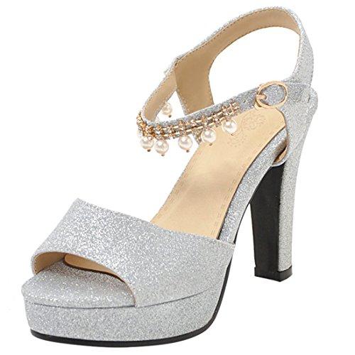 Artfaerie Damen Peeptoes Blockabsatz Sandalen mit Perlen und Plateau Glitzer High Heels Pumps Ankle Strap Brautschuhe