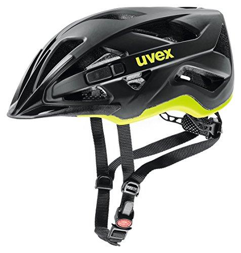 uvex Unisex- Erwachsene, active cc Fahrradhelm, black-yellow mat, 52-57 cm
