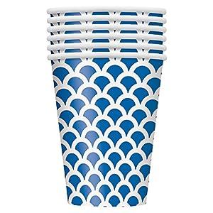 Unique Party Paquete de 6 vasos de papel con diseño de concha Color azul rey 355 ml 37196