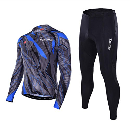 ZZY Men's Breathable Quick-Dry Cycling Jerseys Full-Zip Long Sleeve Jersey Pants Bicycle Clothing Sets Suits Bike Racing Mountain Biking Outdoor Sportswear, 003, m - Full-zip Long Sleeve Jersey