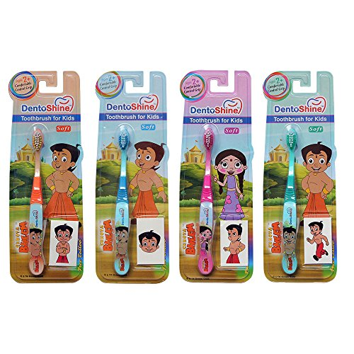 DentoShine Chhota Bheem Toothbrush for Kids (Pack of 4 Designs)