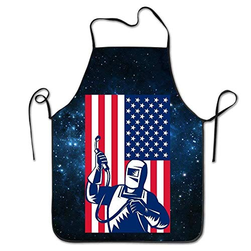 tgyew 2019 Apron US Flag Welder Kitchen Cooking BBQ Apron