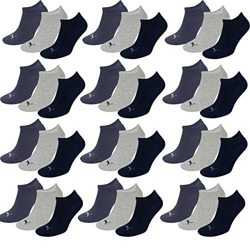 PUMA Unisex Invisible Sneaker Socken 12er Pack, Größe:39-42, Farbe:navy/grey/nightshadow blue