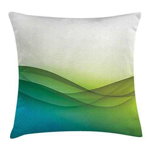 Nizefuture Abstract Decor Throw Pillow Cushion Cover, Modern Circled Wavy Like Green Rainbow Seem Ombre Artwork, Decorative Square Accent Pillow Case, 18 X 18 Inches, Green Blue Yellow and White (Green Ninjago Namen)