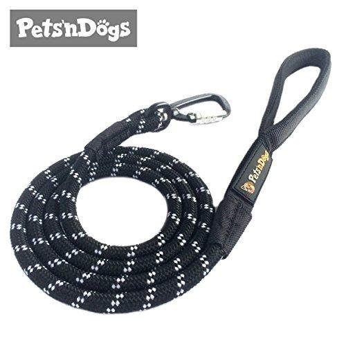 Premium Hunde-Leine aus Profi-Kletterseil & High-Performance-Karabiner inkl. 2 Gratis-Booklets | Extremes Leicht-Gewicht (ca.115g) | Softe Neopren-Handschlaufe | Sicherheits-Komponenten | Pets'nDogs (schwarz)