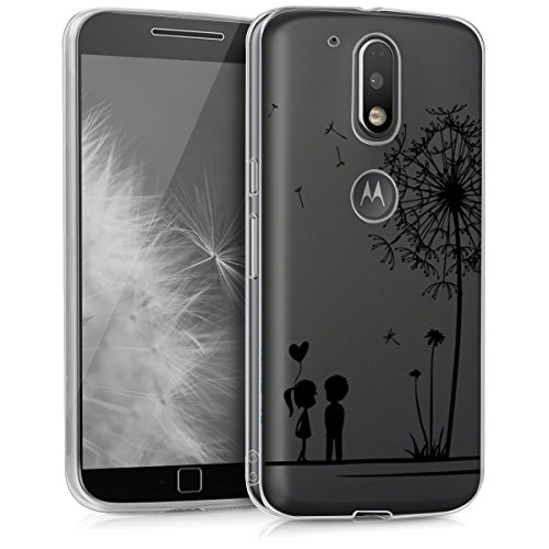 kwmobile Crystal Case Hülle für > Motorola Moto G4 / Moto G4 Plus < - TPU Silikon Cover im Pusteblume Love Design