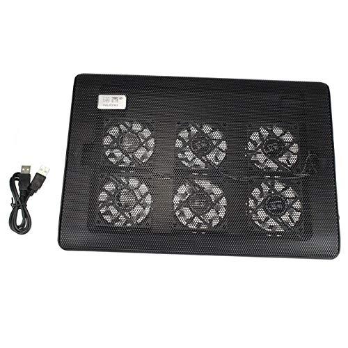 CAOQAO tragbarer PC-Kühler - 6 Lüfter - Schnelle Kühlung - Leistungsstärkste, belüftete Computerhalterung - Für Notebook-Lüfter 10-17 Zoll, Schwarz -