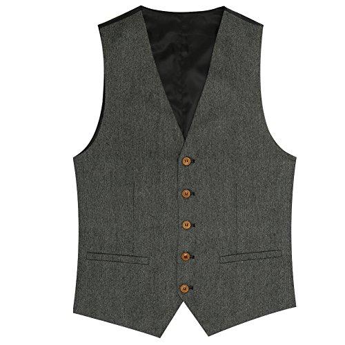 Zicac Herren Top Entworfene Beiläufige Slim Fit Dünnes Kleid Weste 2 Taschen Doppel 4 Tasten Tweed Einzigartig Fortgeschritten Anzug (Grau 1, XXL) (Tweed-taste)