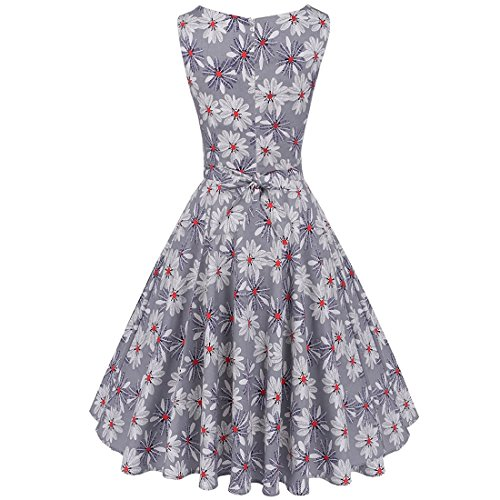 KERVINFENDRIYUN YY4 Frauen 50er Jahre Boatneck ärmellose Vintage Tee Kleid Cocktail Maxi Kleid Sommer mit Gürtel S/M/L/XL / 2XL (Color : Light Purple, Size : XXL)