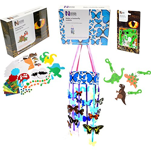 Natural History Museum Craft Kits, 3 Quality Craft Kits - Dinosaur card making and Key Ring kit along with make your own Butterfly Mobile.