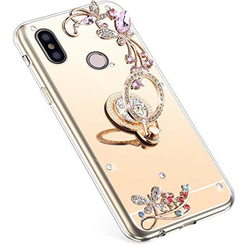 Uposao Kompatibel mit Xiaomi Mi 8 Hülle Glitzer Spiegel TPU Schutzhülle Bling Strass Diamant Silikon Hülle Glänzend Kristall Blumen Silikon Handyhülle mit Ring Ständer Halter,Gold