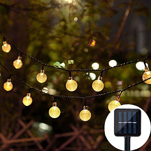 Lámpara solar 30LED Iluminación [6m] Jardín solar Bombilla Blanco Cálido Lámpara de pared Poste para puerta, Piso, vía, Terraza, Patio, valla exterior lámpara