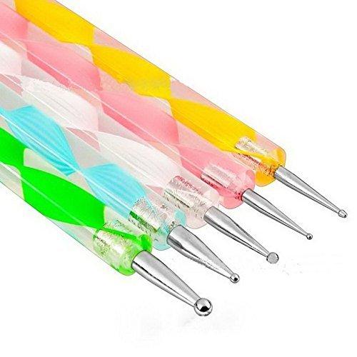 Goliton® 5PCS uñas decoración de uñas pluma Marbleizing herramienta de uñas pintura lunares de arte de uñas de manicura, multicolor