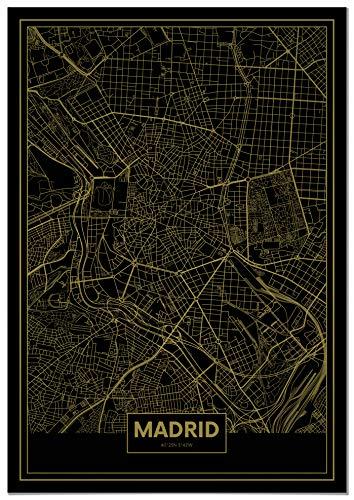 Panorama® Lienzo Mapa Oro Madrid 50 x 70 cm | Impreso