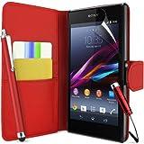 Supergets® Schlichte Einfarbige Hülle für Sony Xperia Z1 Brieftasche in Lederoptik, Schale mit Karteneinschub, Etui, Buchstil Geldbörse, Mit Schutzfolie, 2 Eingabestifte