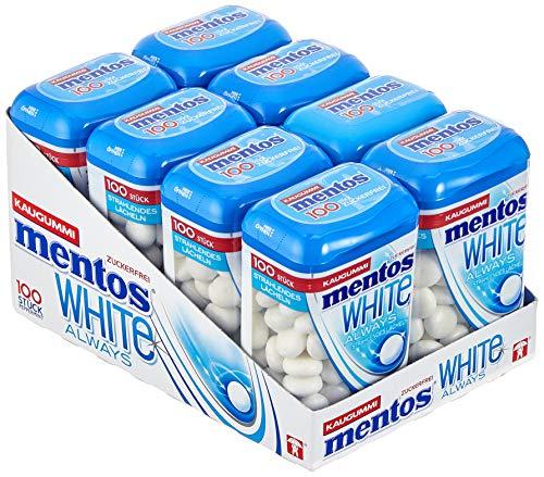 Mentos White Kaugummi, 8 Dosen à 100 Stück im Multipack, Pfefferminz Geschmack, zuckerfreie Zahnpflege