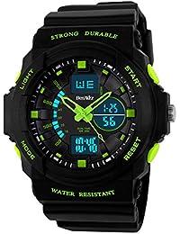 BesWLZ Reloj de Deporte Digital analógico LED de pulsera con alarma y cronógrafo Estilo militar Dual Time -50M resistente al agua verde para niños y niñas