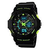 BesWLZ Boy's Multifunktional Digital Hintergrundlicht Quarzuhr Wasserfest 50M Outdoor Sport Alarm Stoppuhr Armbanduhren (Green)