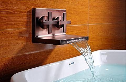 Deux poignées ORB UHM cascade murale lavabo Mitigeur Chaud Froid robinet Baignoire