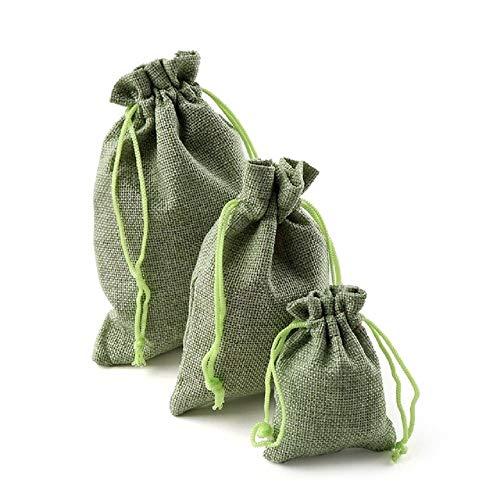 Yalulu 20 Stück Mini Natur Jutesäckchen Leinen Säckchen Jutebeutel, Stoffbeutel, Säckchen, Geschenksäckchen, Beutel für Adventskalender (Grün, 7 * 9cm)