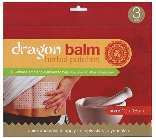Dragón Bálsamo Herbal–Parches de calor Valor Parcel de parches de 15(5paquetes de 3Cada). chinas Herbal Remedy. Cada Patch 12cm x 18cm). Fácil y rápido Aplicación. Simplemente Stick a tu piel