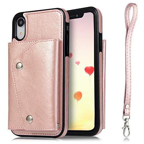 für iPhone XR, mit Kartenfächern, handgefertigt, aus weichem PU-Leder mit 4 Kreditkartenfächern und 1 Geldfach, strapazierfähig, stoßfest, für iPhone XR 15,2 cm (6 Zoll), rose gold ()