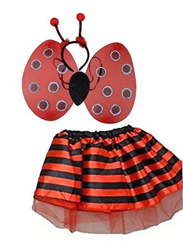 Girl Bumble Bee Kostüm - Islander Fashions Kids Lady Vogel und Bumble Bee Tutu Rock und FL�Gel Set Girls Party Zubeh�r Lady Bird Set One Size