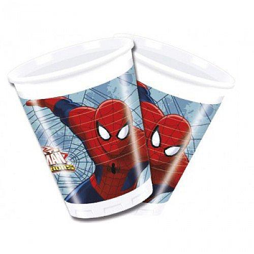 8 Bicchieri di plastica Spiderman 200 ml Taglia Unica