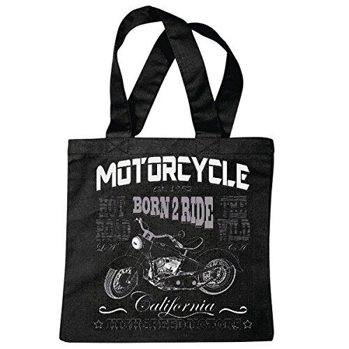 Hot-choppers (Tasche Umhängetasche Born to Ride HOT Road California HIGH Speed Motors BIKERSHIRT Motorrad Chopper Gothic Motorcycle Skull Motorradclub Bike Route 66 Einkaufstasche Schulbeutel Turnbeutel in Schw)