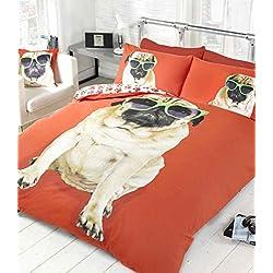 Perro Pug 2Rojo de cama funda de edredón y de almohada juego de cama Ropa de cama de perros