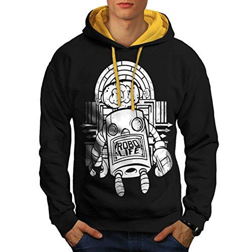 robot-metal-cerveau-horreur-homme-nouveau-noir-avec-capuche-dore-xl-capuchon-contraste-wellcoda