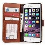 Caseflex Premium iPhone 6 Hülle Echt Leder Schmale Stand Brieftasche mit ID / Bargeld / Karten Aussparrung - Braun