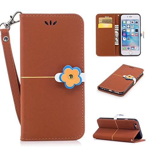 iPhone 6 6s Coque,Fodlon® Mode Or Velours prune Fleur Tête Machines à sous avec Cordon Téléphone Housse -Gris marron