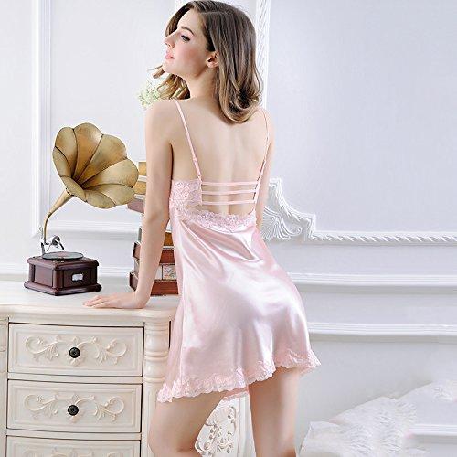 lpkone-Lingerie sexy femme sexy dentelle robe chemise patinage coupe de champagne,vêtements jupe Pink