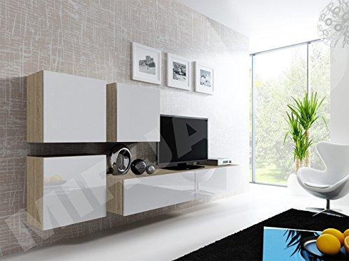 Wohnwand Vigo XXIII, Design Mediawand, Modernes Wohnzimmer Set, Anbauwand,  Hängeschrank TV Lowboard,   Möbelbilliger.de