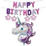 Grapes Garden Niedliches Regenbogen Einhorn Folienballon Aluminiumfolie-Membran glückliche Geburtstagsfeier scherzt Partei Dekoration Lila