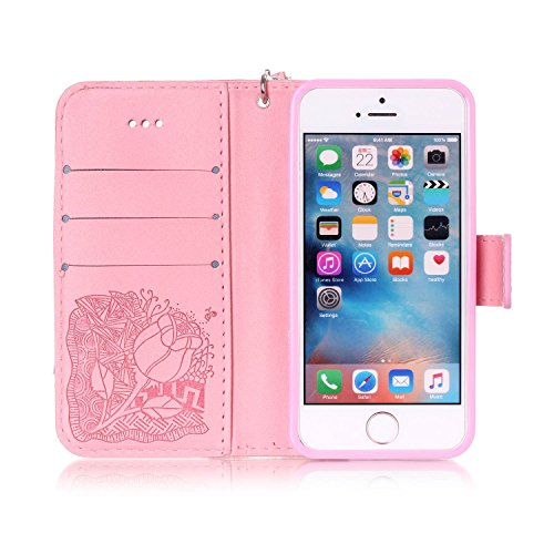 Cover iPhone SE, Custodia per Apple iPhone 5/5S, ISAKEN Custodia Fiore e Ragazza Design PU Pelle Book Folding Case Glitter Bling Cover, Supporto Stand e Porta Carte Integrati Portafoglio Flip Cover co rose:rosa